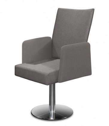 Jídelní židle Set - centrální noha, područky (ocel nerez, světle šedá)