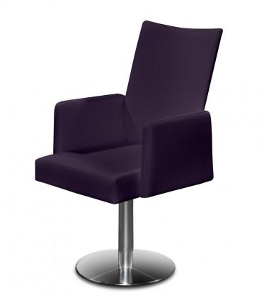 Jídelní židle Set - centrální noha, područky (ocel nerez, temně fialová)
