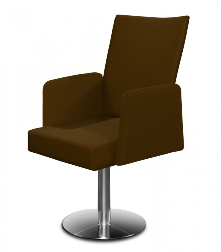 Jídelní židle Set - centrální noha, područky (ocel nerez, tmavě hnědá)