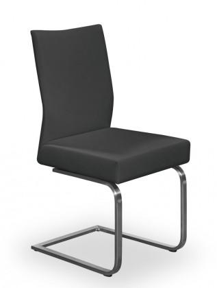 Jídelní židle Set - houpací (ocel nerez, eko kůže černá)