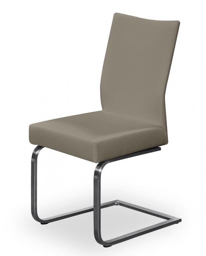 Jídelní židle Set - houpací (ocel nerez, eko kůže světle hnědá)