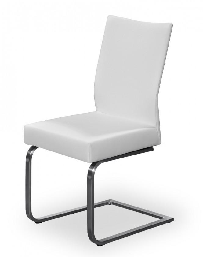 Jídelní židle Set - houpací (ocel nerez, pravá kůže hnědá)