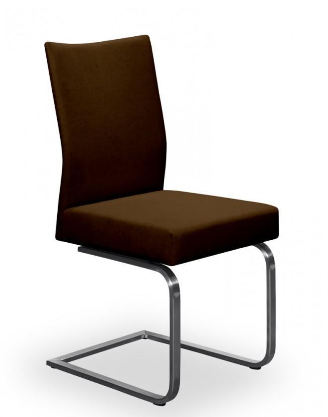 Jídelní židle Set - houpací (ocel nerez, tmavě hnědá)
