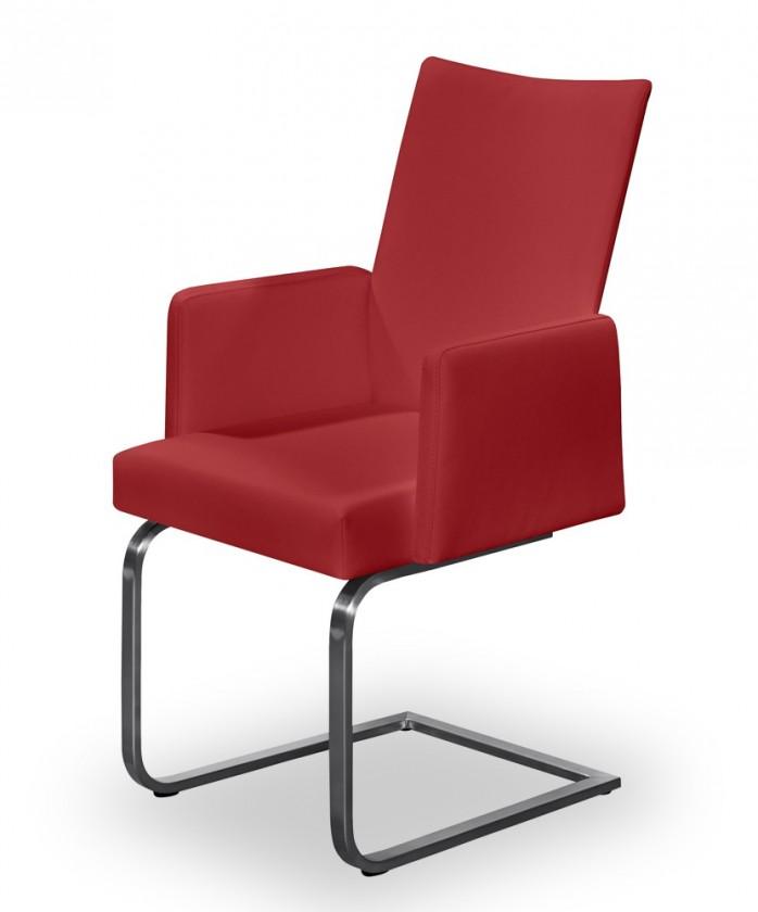 Jídelní židle Set - houpací, područky (ocel nerez, bordó)