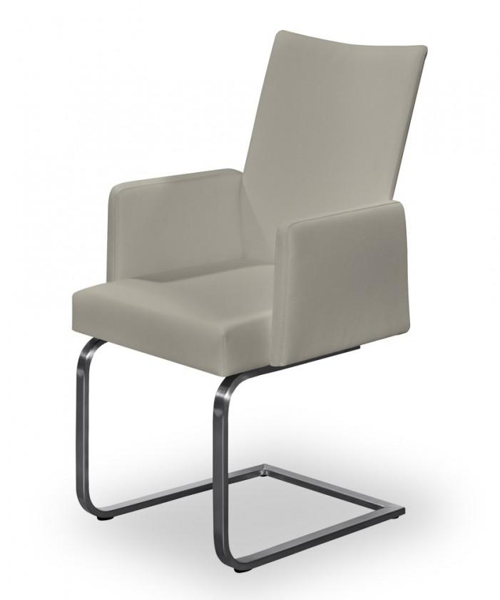 Jídelní židle Set - houpací, područky (ocel nerez, eko kůže sahara)