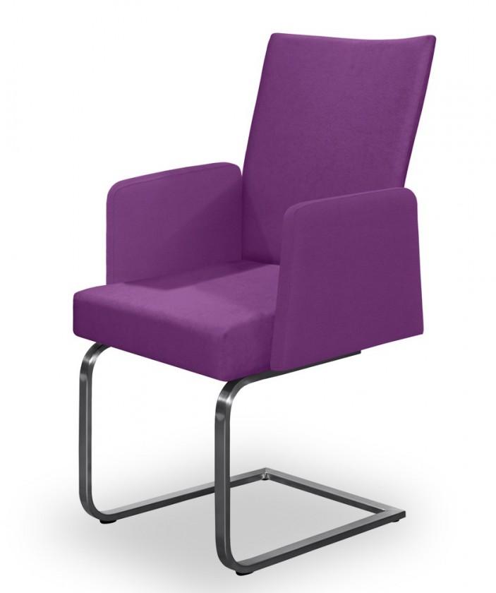 Jídelní židle Set - houpací, područky (ocel nerez, fialová)
