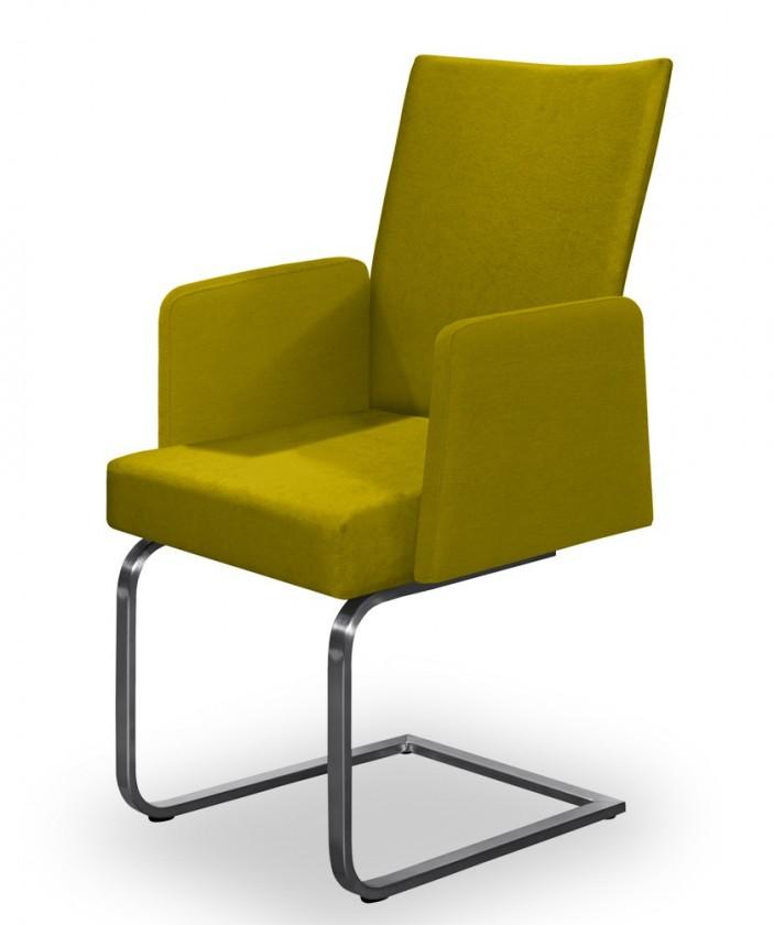 Jídelní židle Set - houpací, područky (ocel nerez, kari)