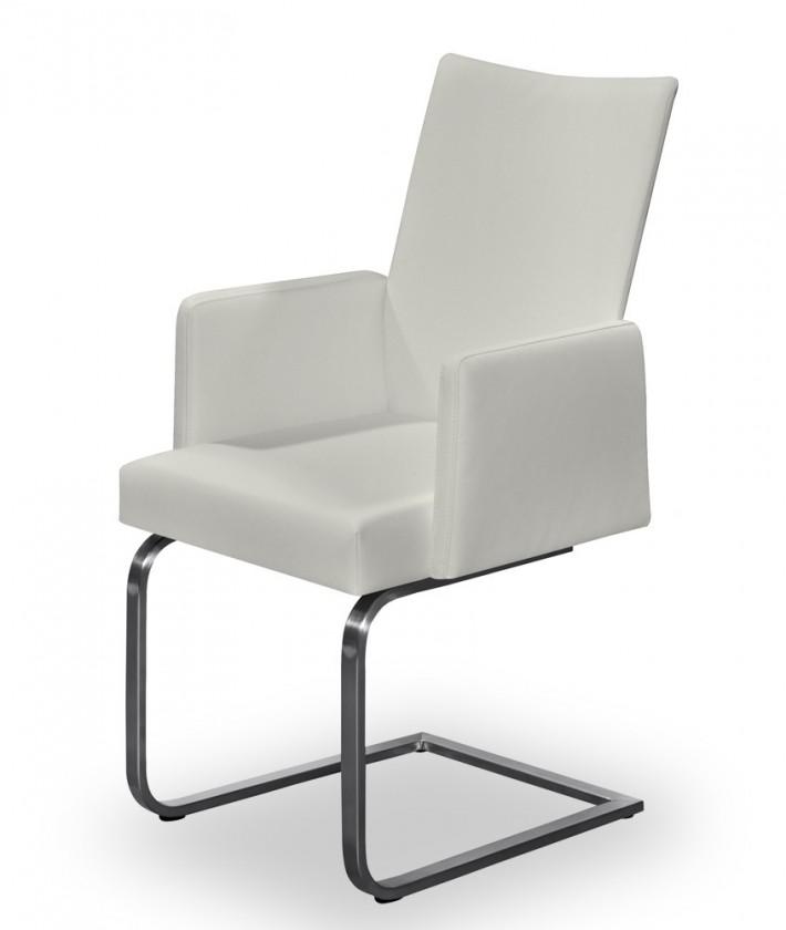 Jídelní židle Set - houpací, područky (ocel nerez, krémová)