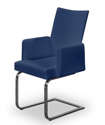 Jídelní židle Set - houpací, područky (ocel nerez, modrá)