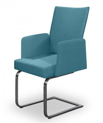 Jídelní židle Set - houpací, područky (ocel nerez, petrolejová)