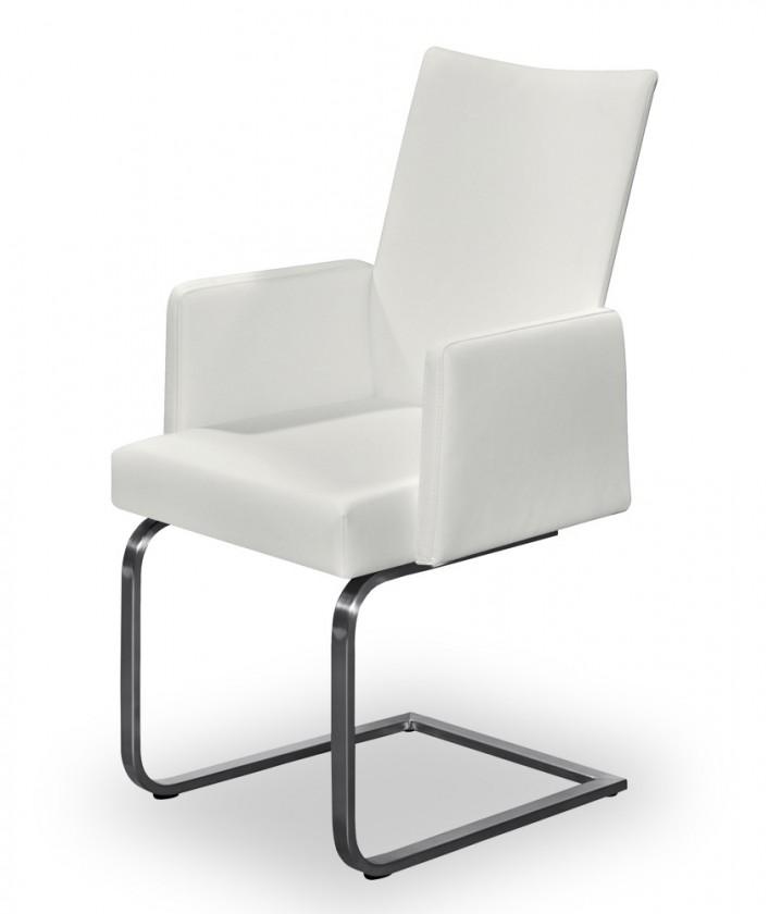 Jídelní židle Set - houpací, područky (ocel nerez, pravá kůže bílá)