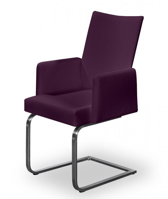 Jídelní židle Set - houpací, područky (ocel nerez, rubínová)