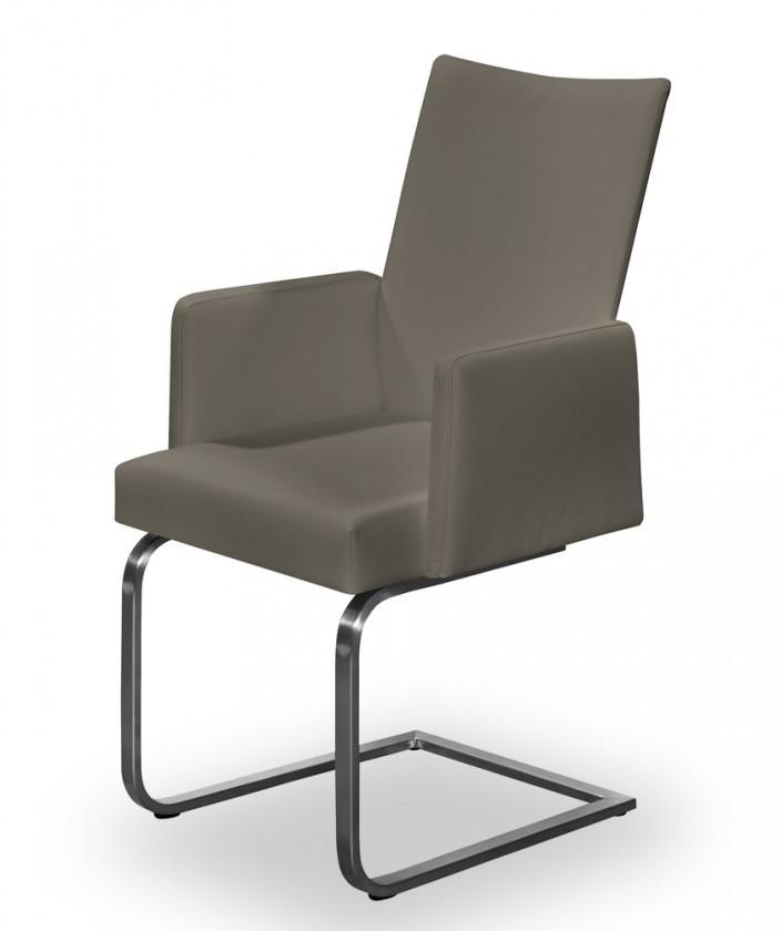 Jídelní židle Set - houpací, područky (ocel nerez, šedohnědá)