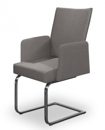Jídelní židle Set - houpací, područky (ocel nerez, světle šedá)