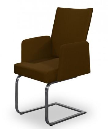 Jídelní židle Set - houpací, područky (ocel nerez, tmavě hnědá)