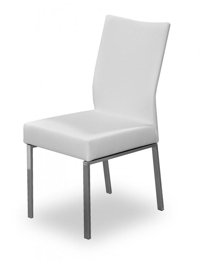 Jídelní židle Set (ocel nerez, eko kůže bílá)