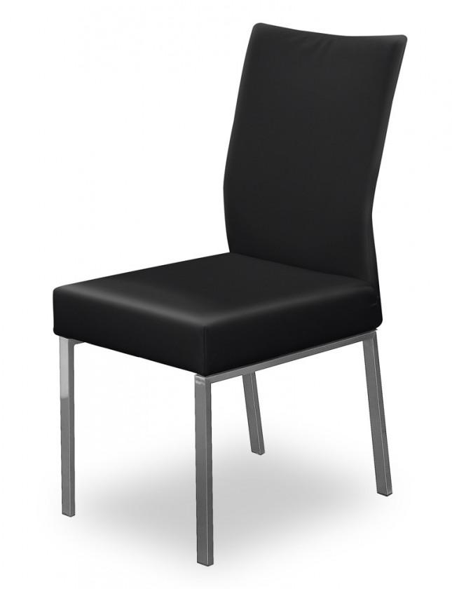 Jídelní židle Set (ocel nerez, eko kůže černá)