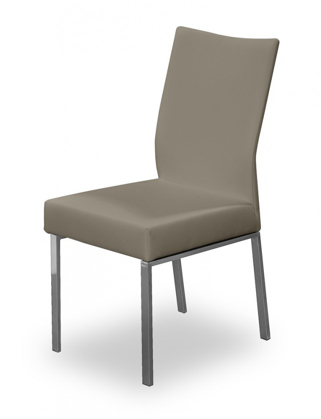 Jídelní židle Set (ocel nerez, eko kůže světle hnědá)
