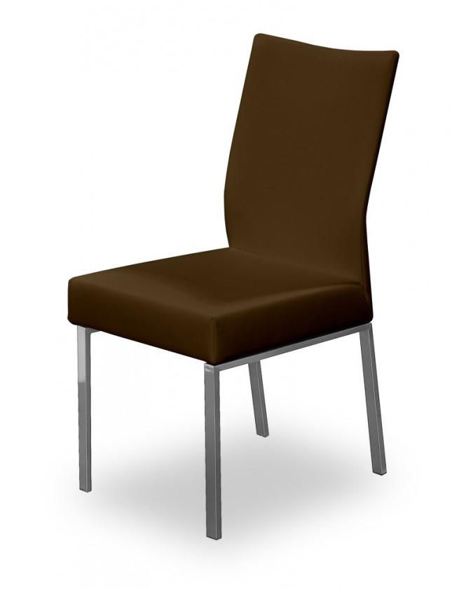 Jídelní židle Set (ocel nerez, tmavě hnědá)