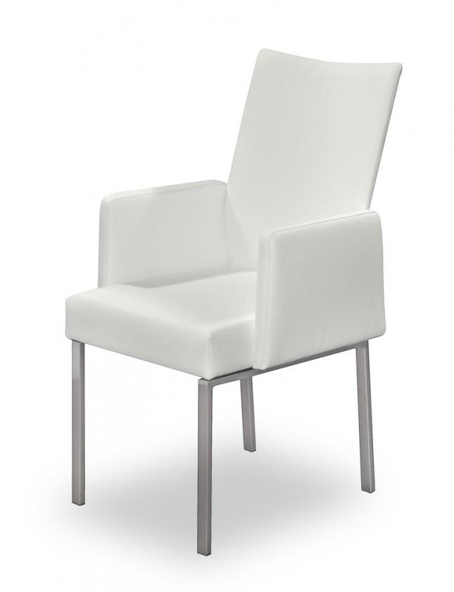 Jídelní židle Set - područky (ocel nerez, eko kůže bílá)