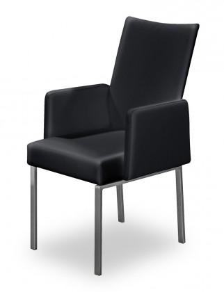 Jídelní židle Set - područky (ocel nerez, eko kůže černá)