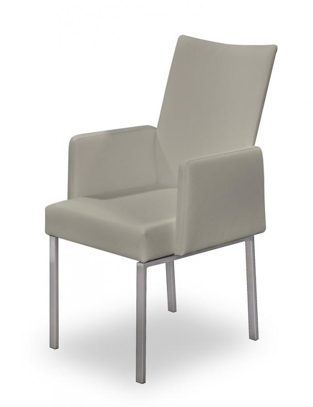 Jídelní židle Set - područky (ocel nerez, eko kůže sahara)