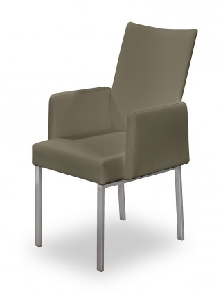 Jídelní židle Set - područky (ocel nerez, eko kůže sv. hnědá)