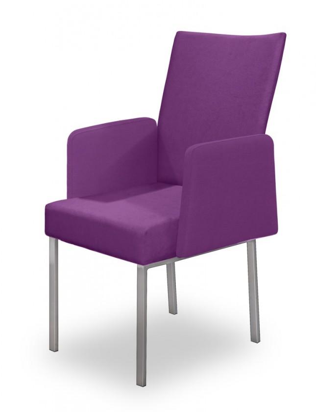 Jídelní židle Set - područky (ocel nerez, fialová)