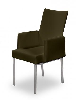 Jídelní židle Set - područky (ocel nerez, hnědá)