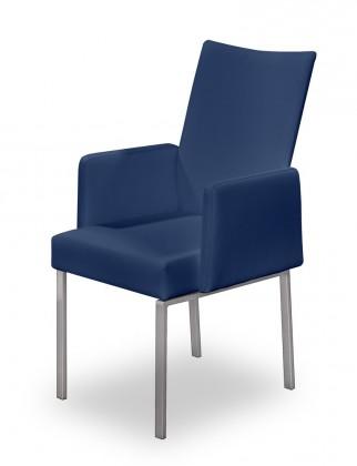Jídelní židle Set - područky (ocel nerez, modrá)
