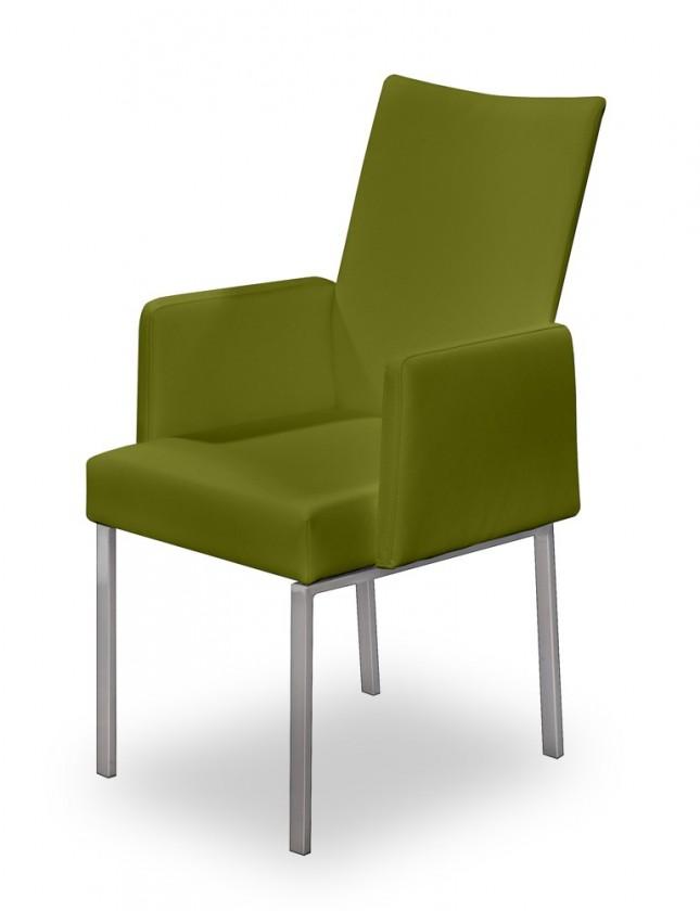 Jídelní židle Set - područky (ocel nerez, olivová)