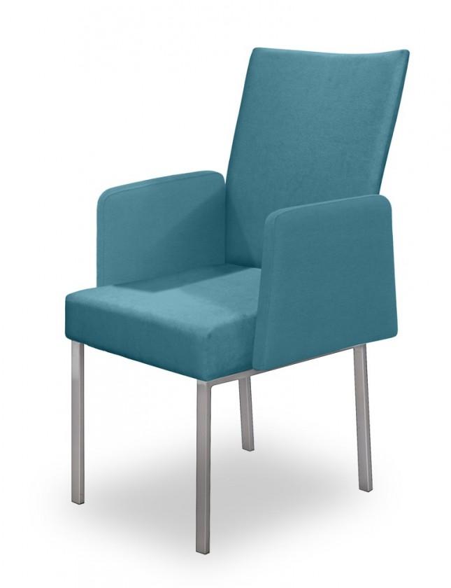 Jídelní židle Set - područky (ocel nerez, petrolejová)