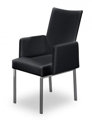 Jídelní židle Set - područky (ocel nerez, pravá kůže černá)