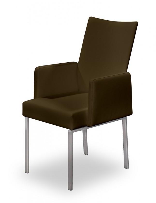 Jídelní židle Set - područky (ocel nerez, pravá kůže hnědá)