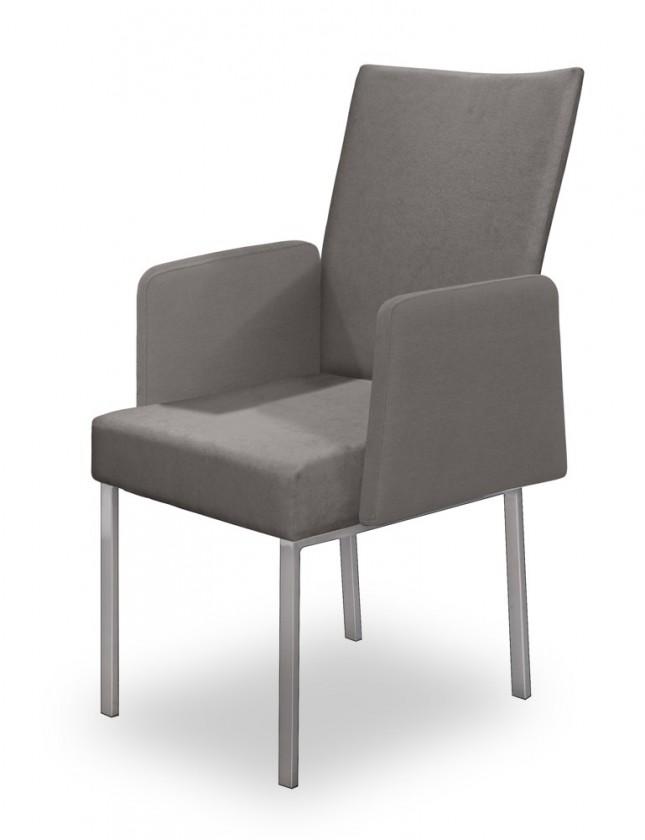 Jídelní židle Set - područky (ocel nerez, světle šedá)