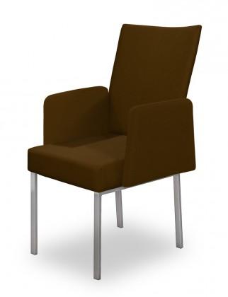 Jídelní židle Set - područky (ocel nerez, tmavě hnědá)
