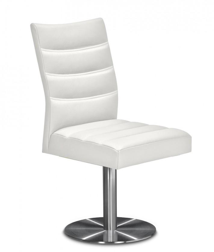 Jídelní židle Set - prošívaná, centrální noha (ocel nerez, bílá)