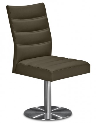 Jídelní židle Set - prošívaná, centrální noha (ocel nerez, sahara)
