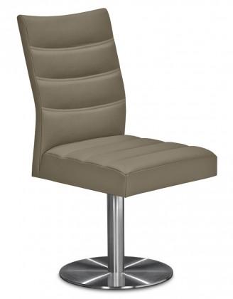 Jídelní židle Set - prošívaná, centrální noha (ocel nerez, světle hnědá)