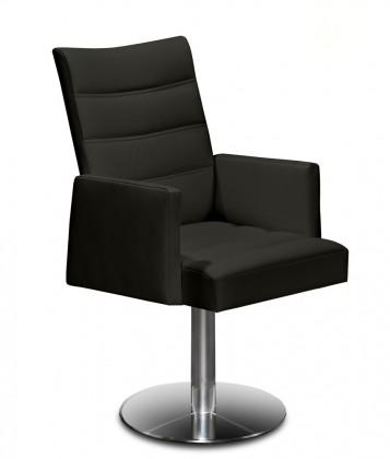 Jídelní židle Set - prošívaná, centrální noha, područky (ocel nerez, černá)