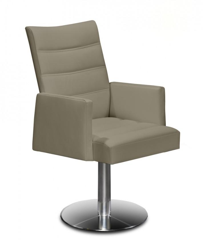 Jídelní židle Set - prošívaná, centrální noha, područky (ocel nerez, hnědá)