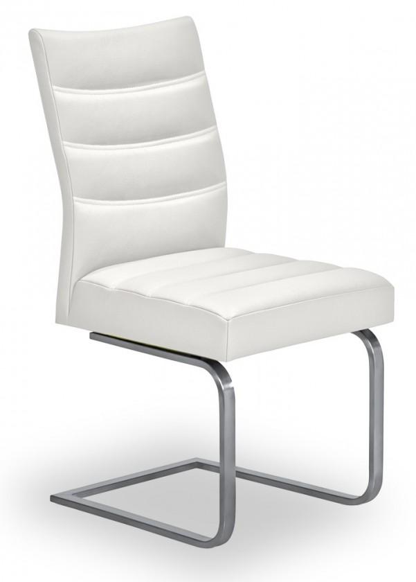 Jídelní židle Set - prošívaná, houpací (ocel nerez, bílá)