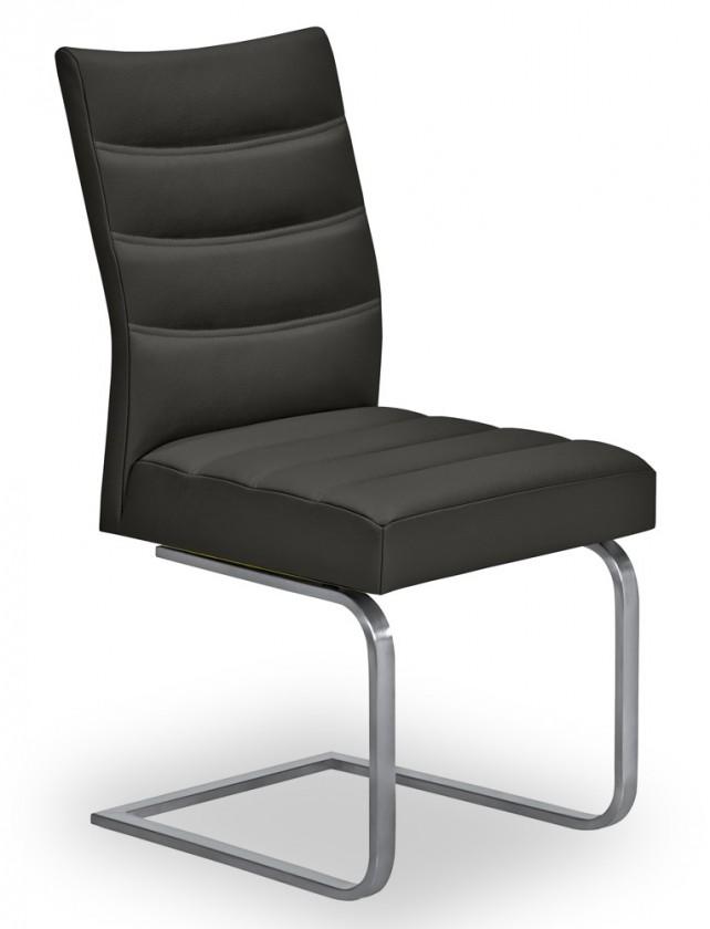 Jídelní židle Set - prošívaná, houpací (ocel nerez, černá)