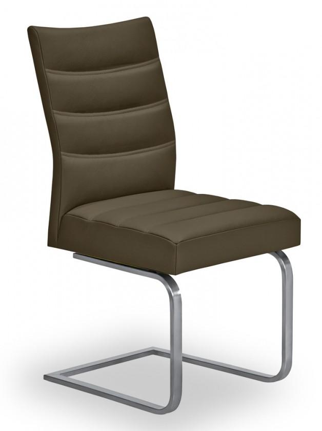 Jídelní židle Set - prošívaná, houpací (ocel nerez, hnědá)