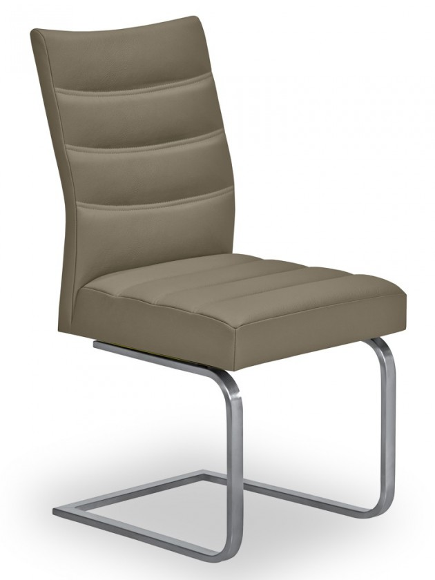 Jídelní židle Set - prošívaná, houpací (ocel nerez, světle hnědá)
