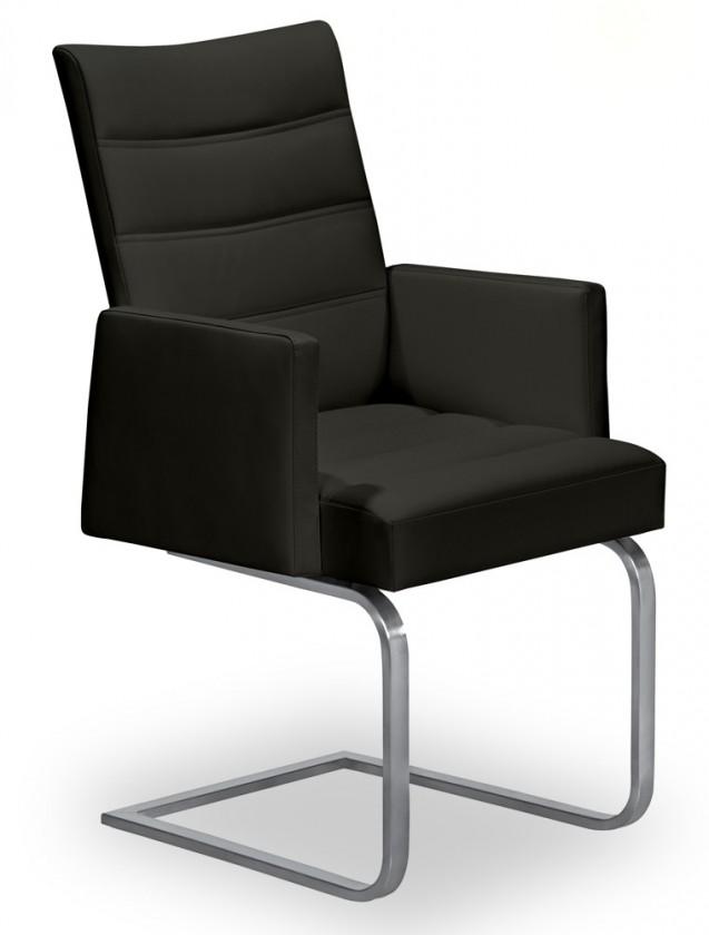 Jídelní židle Set - prošívaná, houpací, područky (ocel nerez, černá)