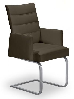Jídelní židle Set - prošívaná, houpací, područky (ocel nerez, sahara)
