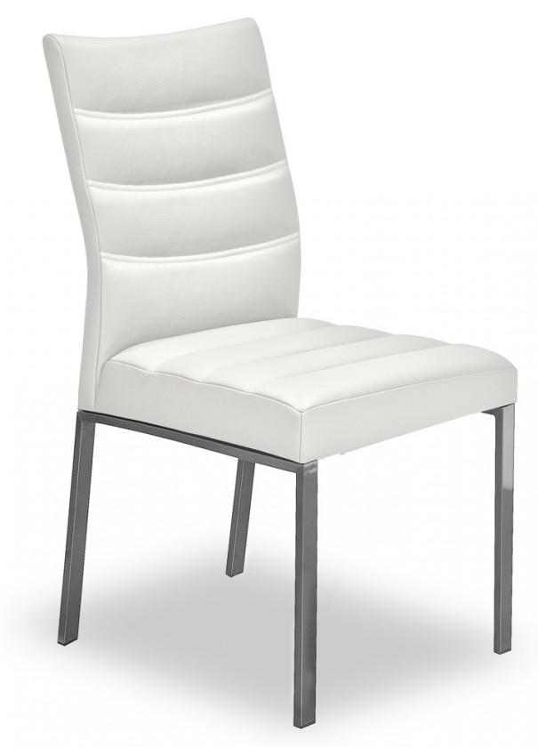 Jídelní židle Set - prošívaná (ocel nerez, eko kůže bílá)