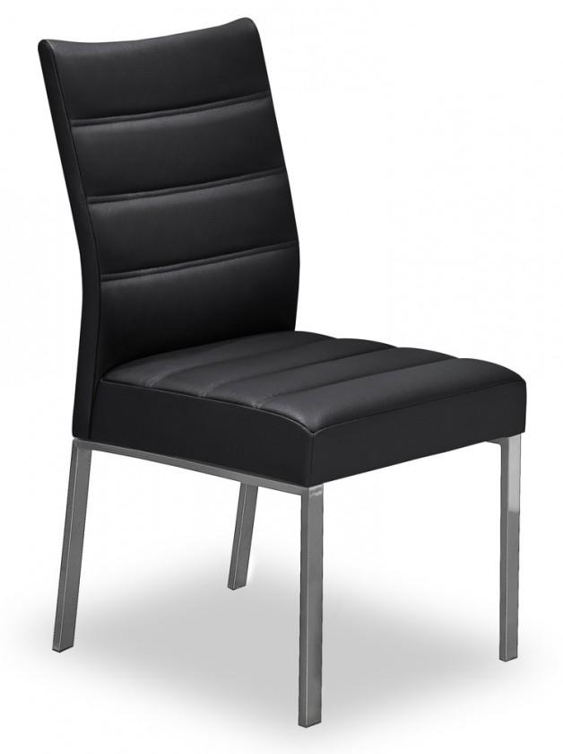 Jídelní židle Set - prošívaná (ocel nerez, eko kůže černá)