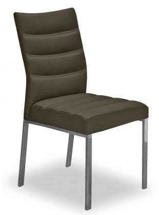 Jídelní židle Set - prošívaná (ocel nerez, eko kůže sahara)